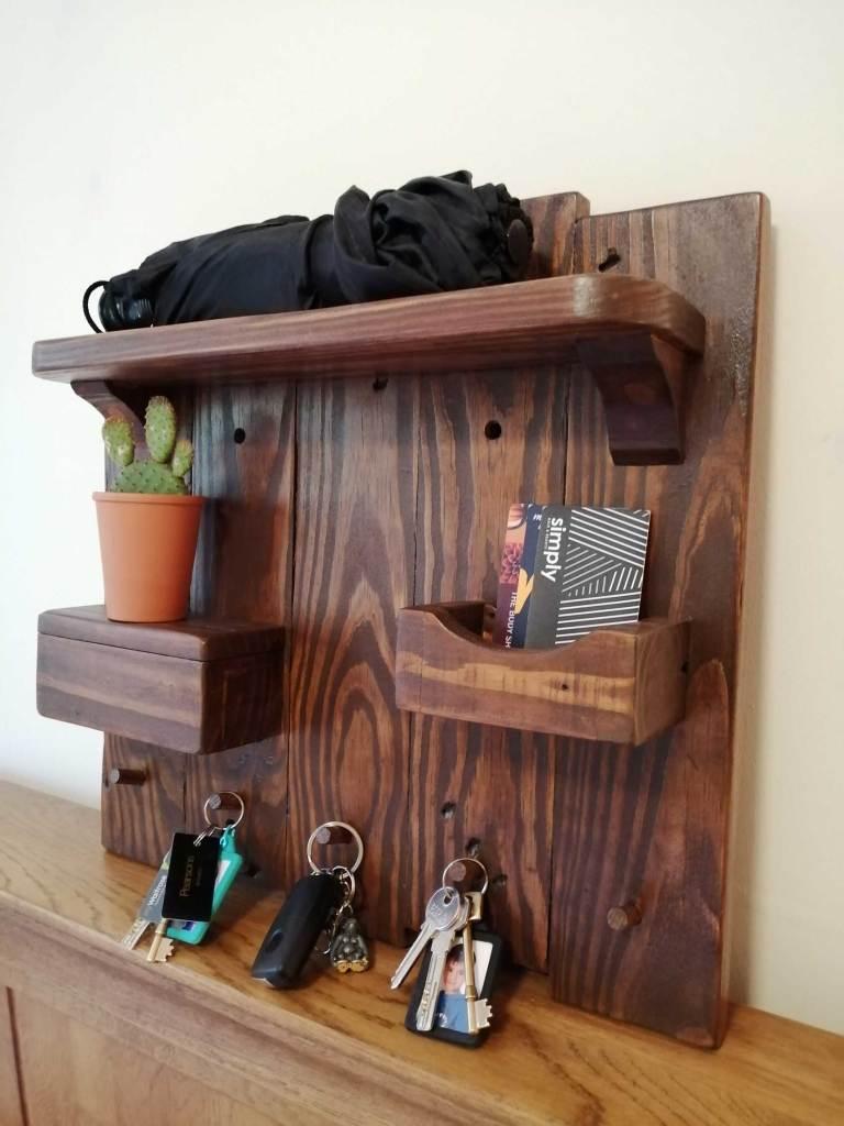 Dark wood hallway organiser