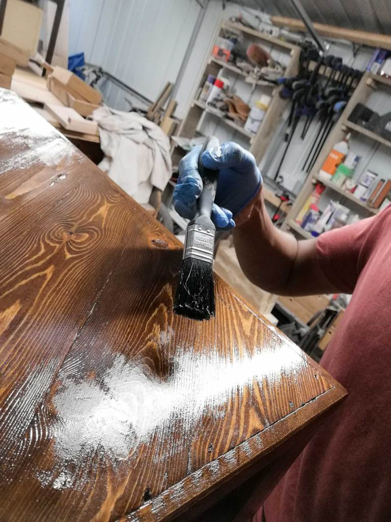 Varnish applied to table top
