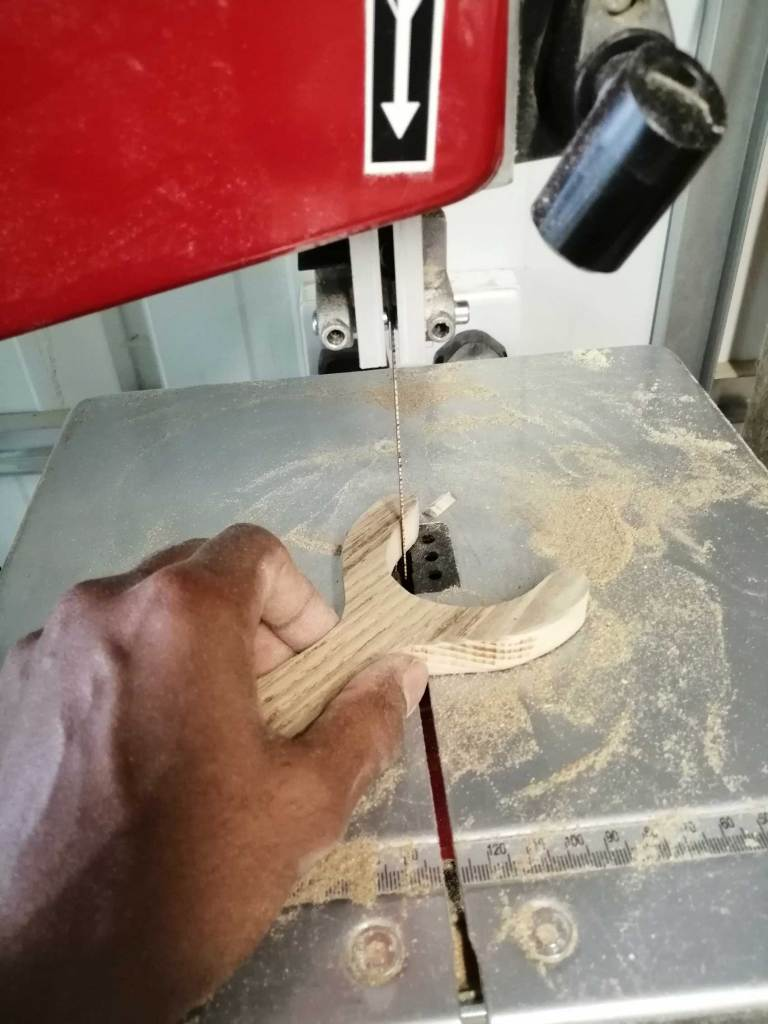Cutting the slingshot on the bandsaw