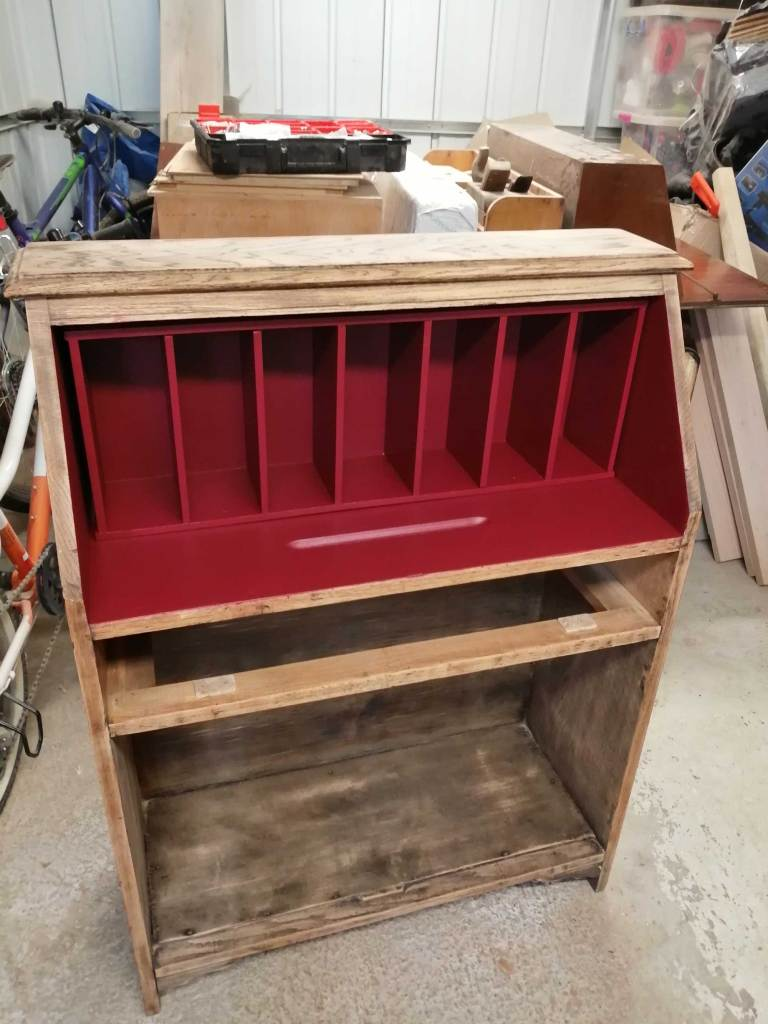 Upcycled bureau desk - Second coat of red paint