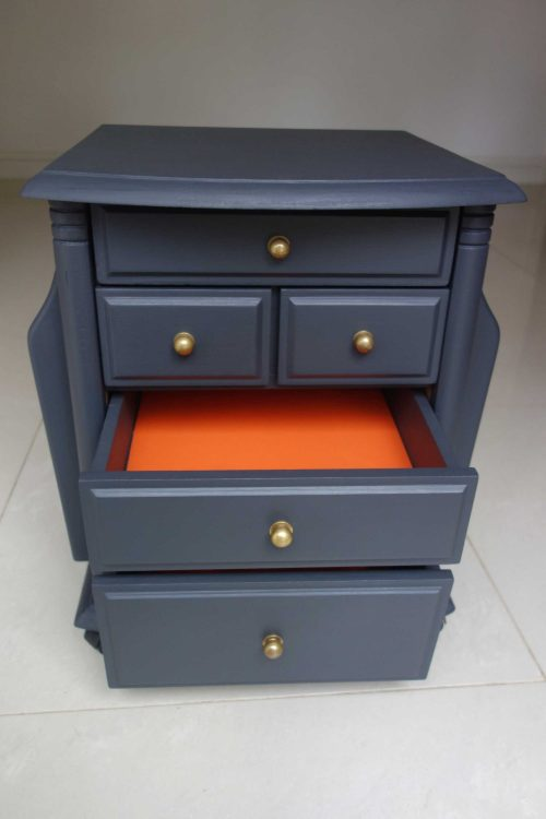 Upcycled side table - Front view with 2 drawers open