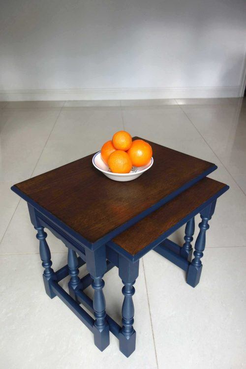 Upcycled nest of tables - Front angle view