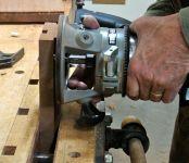 Dovetail bit installed, depth set using test piece