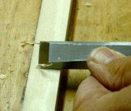 Scribed line outlined with chisel
