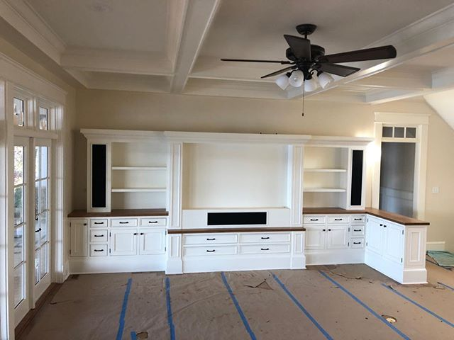 Entertainment center solid white oak counter tops