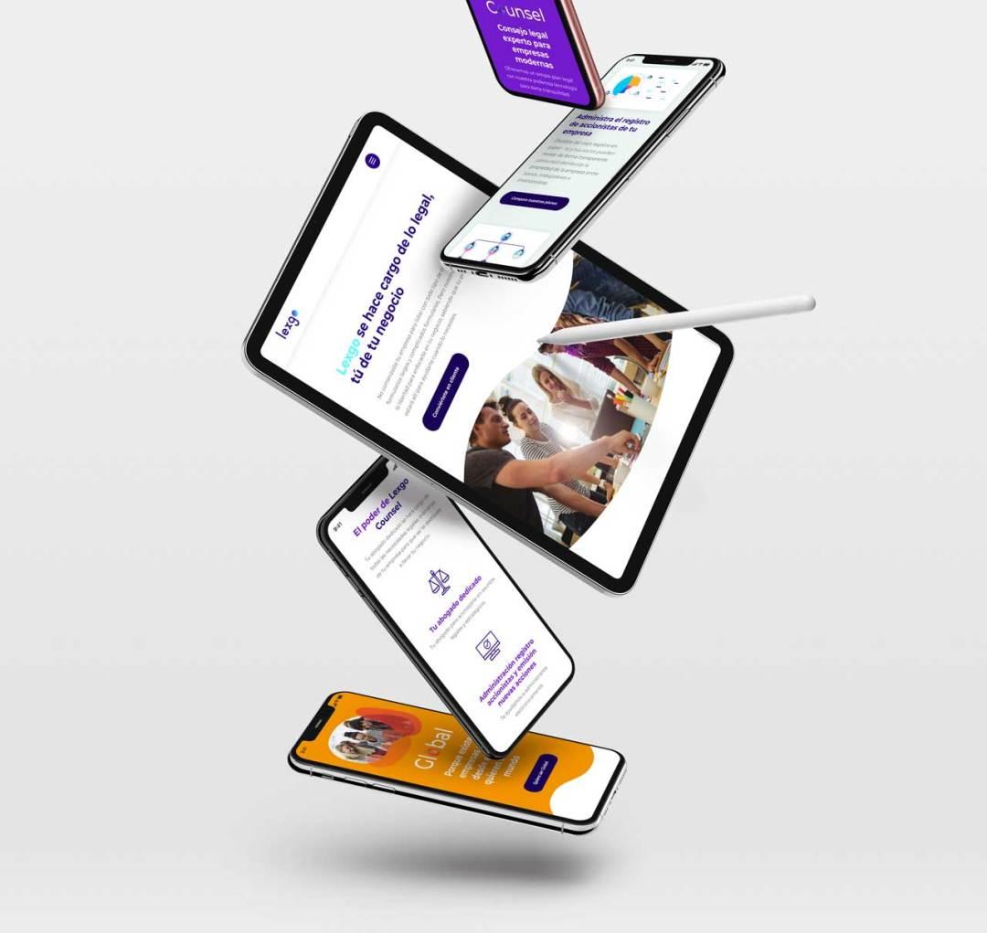 Lexgo website on several screens