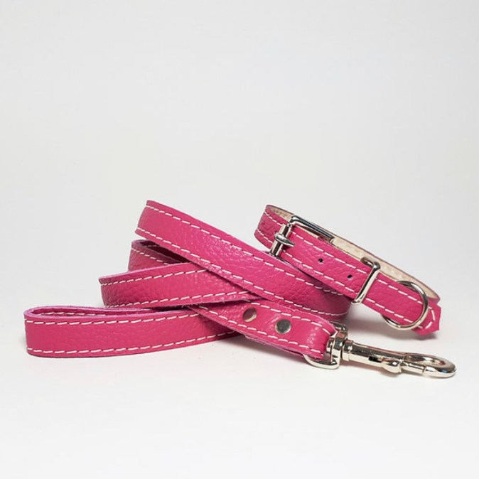 Leather collar and lead Pink