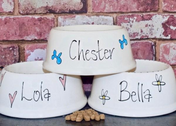 Slanted Ceramic Dog Bowl