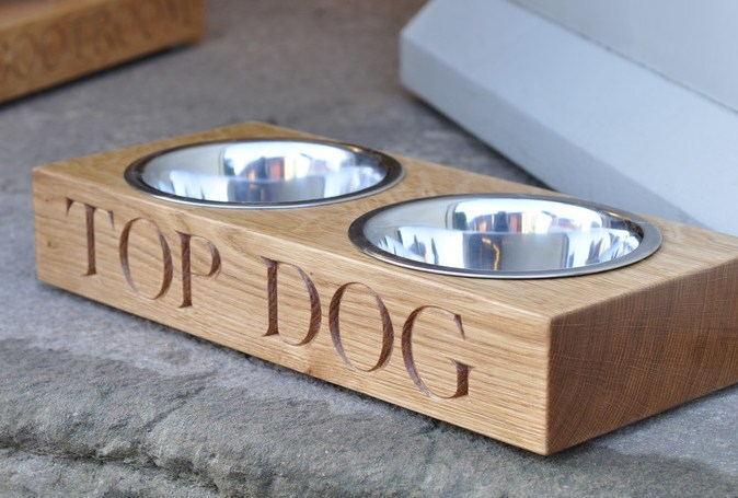 Handmode Oak Double Wooden Dog Bowls With Stainless Steel Bowls