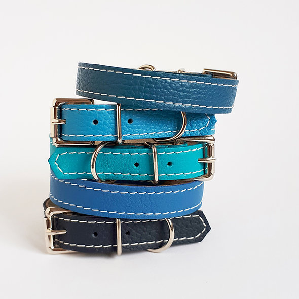 Puppy Toy Breed Dog Leather Dog Collar Navy