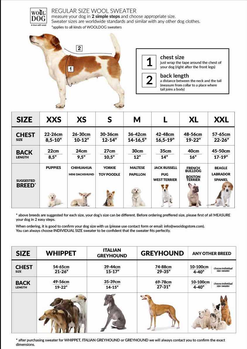 Dog size guide Dog Sweaters