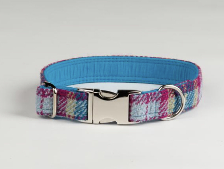 Mulberry And Turquoise Check Luxury Harris Check Collar