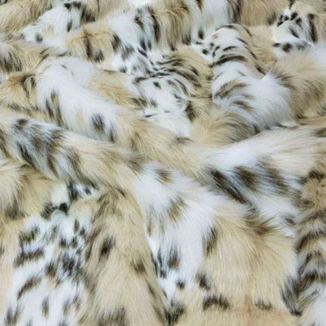 Beige Lynx Faux Fur Throw