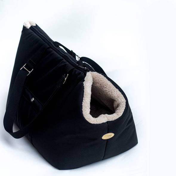 Rainy bear Black and Beige Dog Carrier Bag