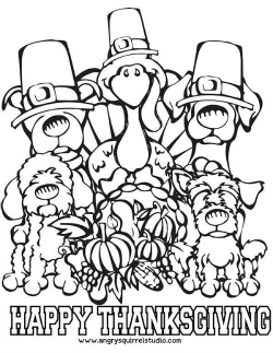 Free Printable Thanksgiving Coloring Page: Dogs and Turkey