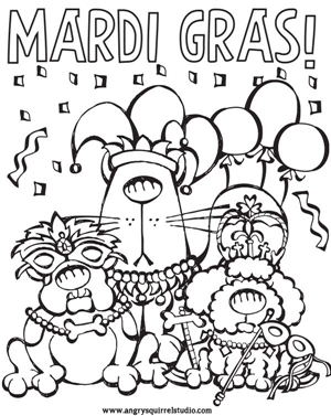 Mardi Gras Free Printable Coloring Page for Pet Lovers