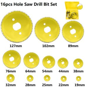 XCAN Wood Drill Bit 5 8 11 13 16pcs Woodworking Hole Cutter Carbon Steel Core Drill Bit 19-127mm Hole Saw Drill Set