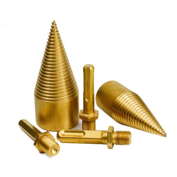 HSS Firewood Splitter Drill Bit 32-42mm TiN Coating Hex Round Shank Cone Drill Bit For Wood Working Drill Bit