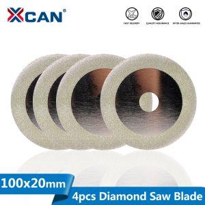 XCAN 4pcs Diamond Cutting Disc 4''(100mm) Saw Blade for Dremel Rotary Tools Grinding Wheel Circular Saw Disc