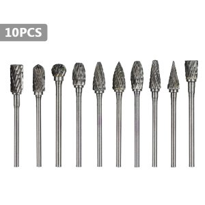 XCAN 10pcs Tungsten Carbide Cutter Shank 3.175mm Double-cut Rotary Files