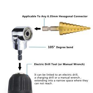 XCAN 105 Angle Screwdriver Set Socket Holder Adapter Adjustable Bits Drill Bit Angle Screw Driver Tool 1/4'' Hex Bit Socket