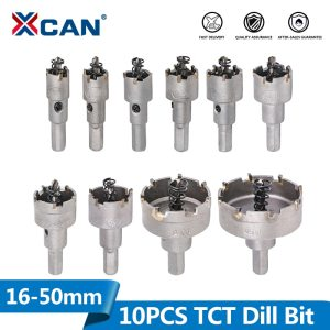 XCAN 10pcs 16-50mm Hole Saw Drill Bit Set Carbide Tipped Hole Saw Cutter For Drilling Wood/Metal TCT Drill Bit Core Drill Bit