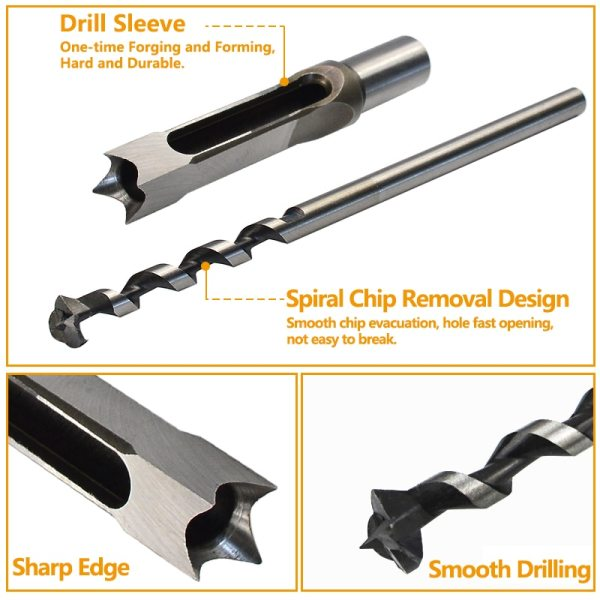 Square Hole Saw 6.4-25mm Mortise Chisel Wood Drill Bit HSS Steel Hole Cutter with Twist Drill Square Drill Bit