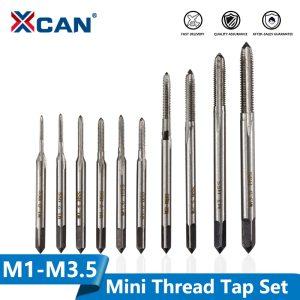XCAN Metric Screw Thread Tap Set 10pcs M1 M1.2 M1.4 M1.6 M1.7 M1.8 M2 M2.5 M3 M3.5 Straight Flute Machine Plug Tap Drill Bit Set