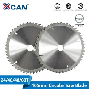 XCAN 1pc 165mm 24/40/48/60T Carbide Wood Saw Blades for Multi-function Power Tool TCT Circular Saw Blade Wood Cutting Disc