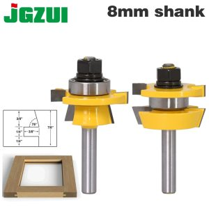 2PC 8mm Shank Rail & Stile Router Bit Set - Shaker door knife Woodworking cutter Tenon Cutter for Woodworking Tools
