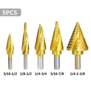 Step Cone Drill Bit 5pcs Inch HSS Step Drill Bit Set Titanium Coated Cone Hole Cutter Hex Shank Step Drills Metal Drill Bit