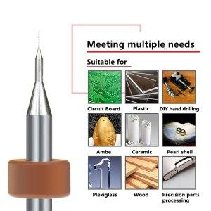 XCAN 10Pcs 0.1mm Print Circuit Board Drill Bit Sharpening Drill Bits Import Carbide PCB Drill Bits Mini CNC Drilling Bit