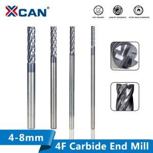 XCAN Carbide End Mill Cutter Bit 4/5/6/8mm End Milling Cutter CNC Engraving Tools 4 Flute Slot Cutter Router Bit