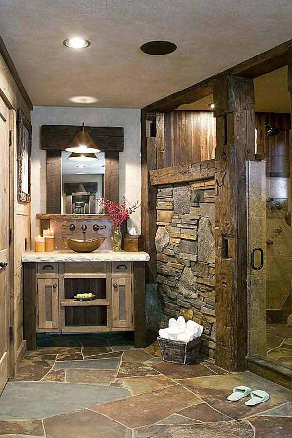 Farmhouse Fireplace Decor With Mirror 30 Inspiring Rustic Bathroom Ideas For Cozy Home