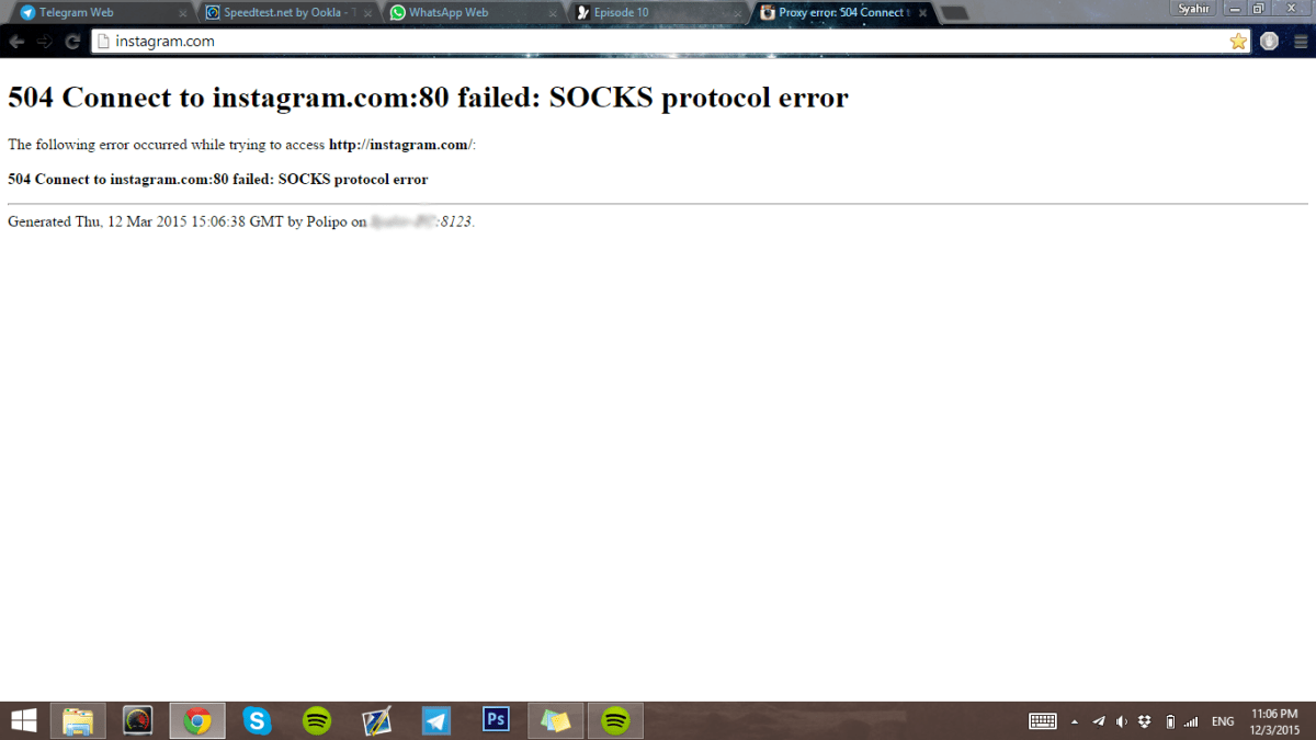 Shadowsocks – 504 connect to youtube.com:80 failed: socks protocol error