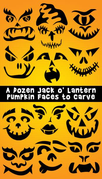 Jack-o-lantern Faces : jack-o-lantern, faces, Pumpkin, Faces, Carve, Dozen, Lanterns, Halloween, Activities
