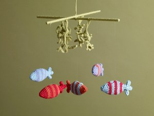 fish crochet mobile