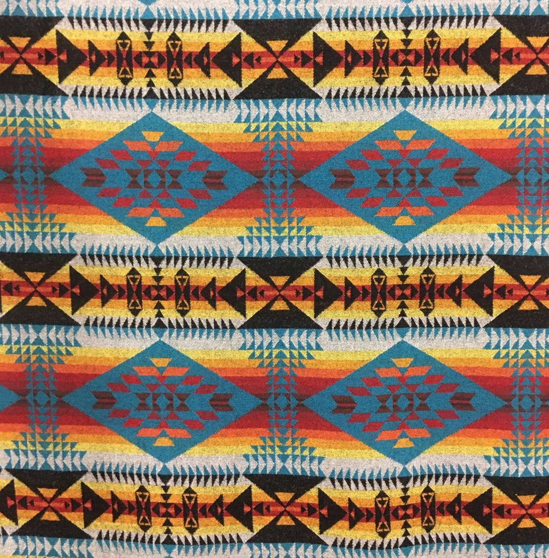 Swatch of Pendleton wool fabric in a very bold and bright pattern of diamonds and columns, black background with turquoise diamonds across stripes of yellow, orange and red.