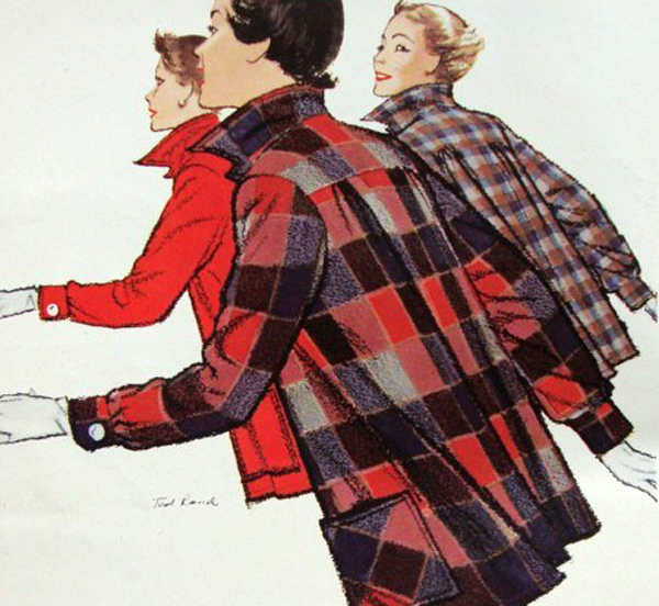 A vintage Pendleton ad for the 49'er jacket with three women in jackets rushing.
