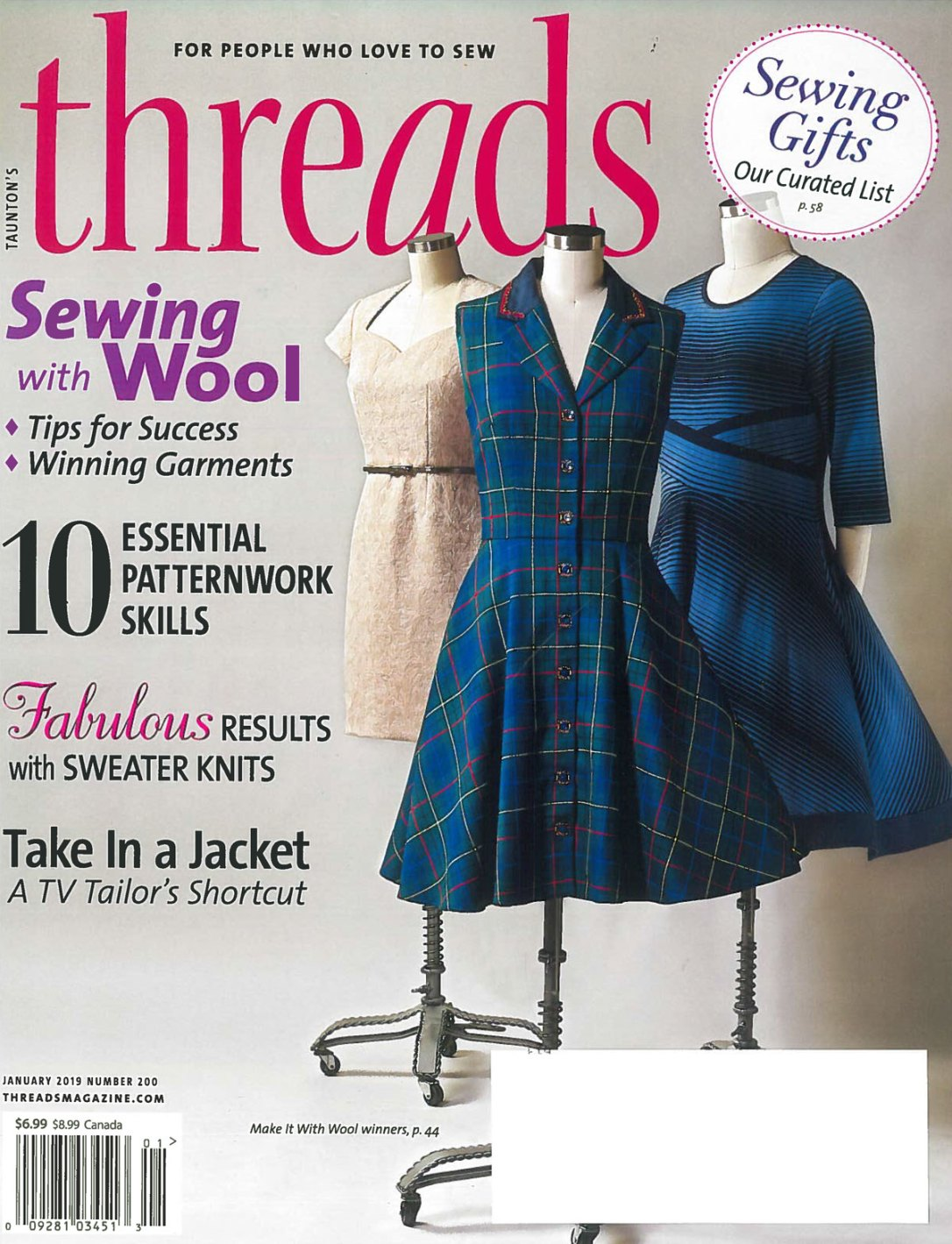 "Cover of a sewing magazine called ""Threads"" featuring three dresses on display forms, that won the Make it With Wool contest. one dress was made with Pendleton Hunting Tartan fabric."