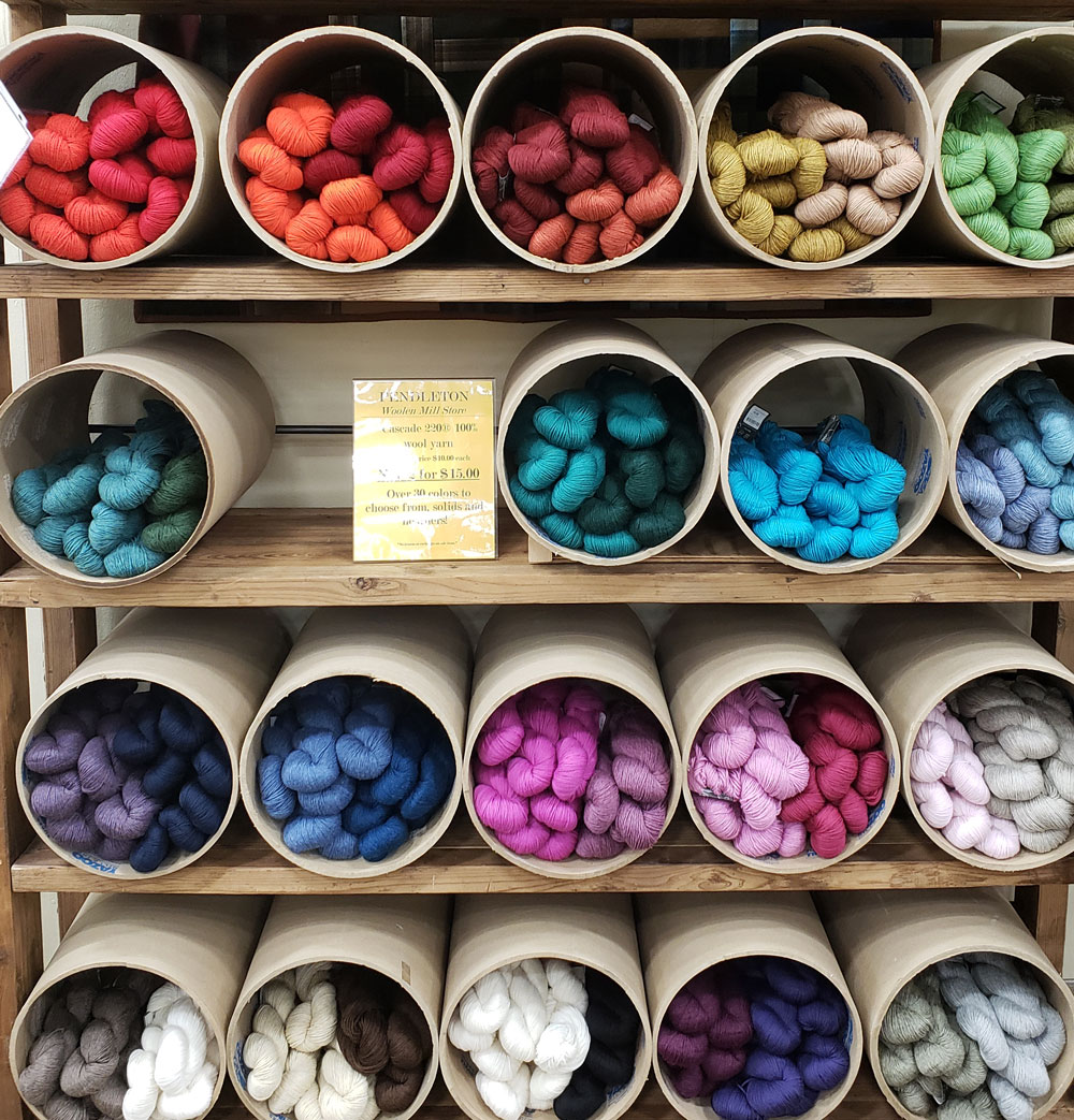 Store display of yarn skeins.