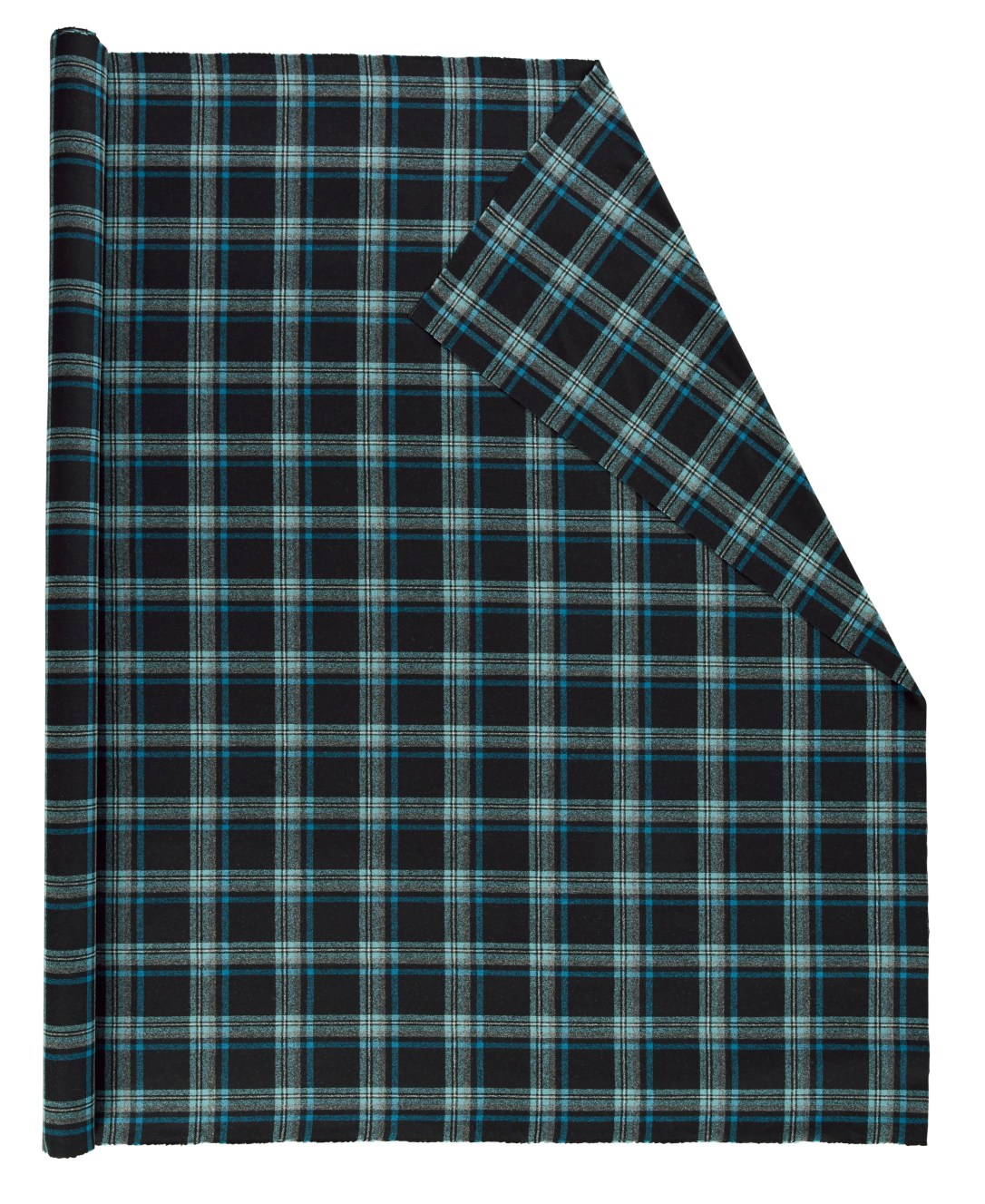 Roll of Pendleton wool fabric in black and blue plaid.