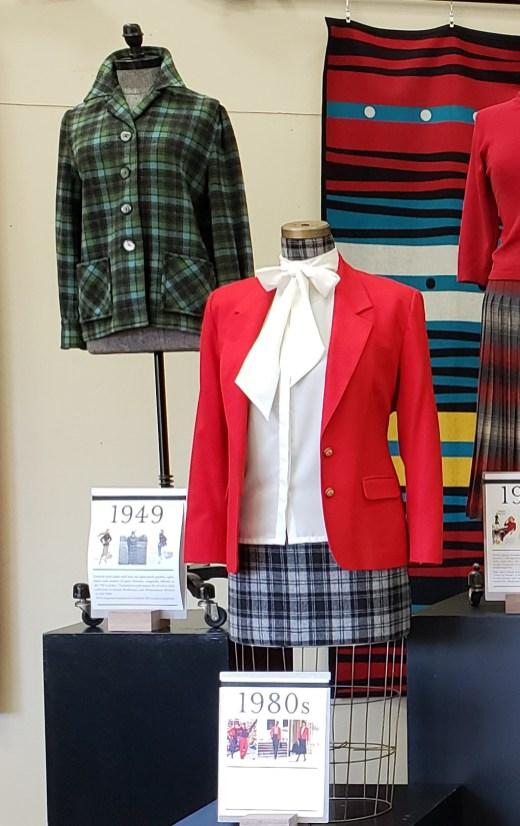 Pendleton vintage women's garments on dress forms. Plaid jacket, red jacket.