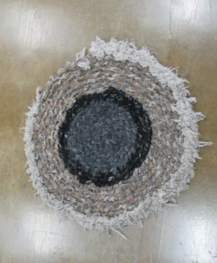 Crocheted round rug made with Pendleton scrap wool