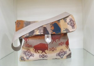 Soft and slouchy purse made with Land of the Buffalo Pendleton wool fabric