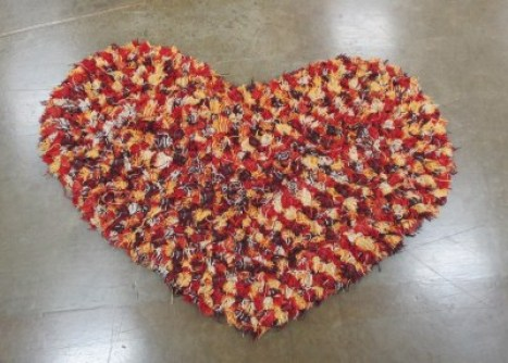 heart-shaped rag rug made with Pendleton wool scraps