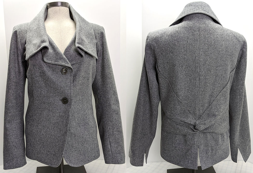 Side-by-side views (back and front) of a shorter grey wool jacket with exaggerated draping lapels. The back view shows a fabric twist detail on the lower back.