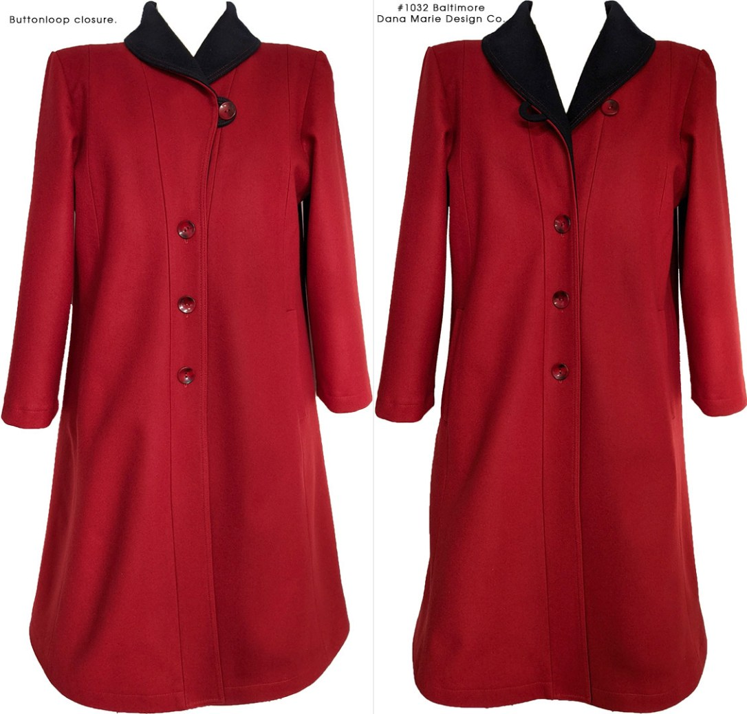 Side-by-side views of a red wool coat with a button front and black lapels , shown with the top button done up on the left, and not done up on the right.