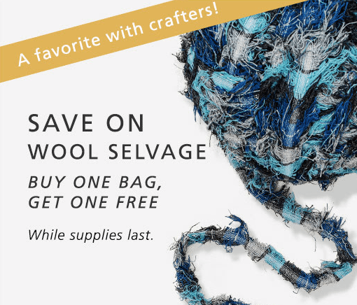"A ball of wool selvage with the words, ""Save on Wool selvageBuy one bag, get one free while supllies last"""
