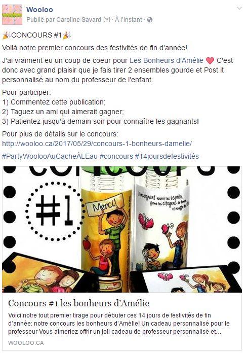 concours les bonheurs d'Amélie wooloo